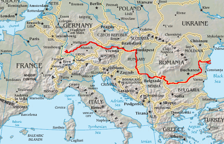 The course of the Danube