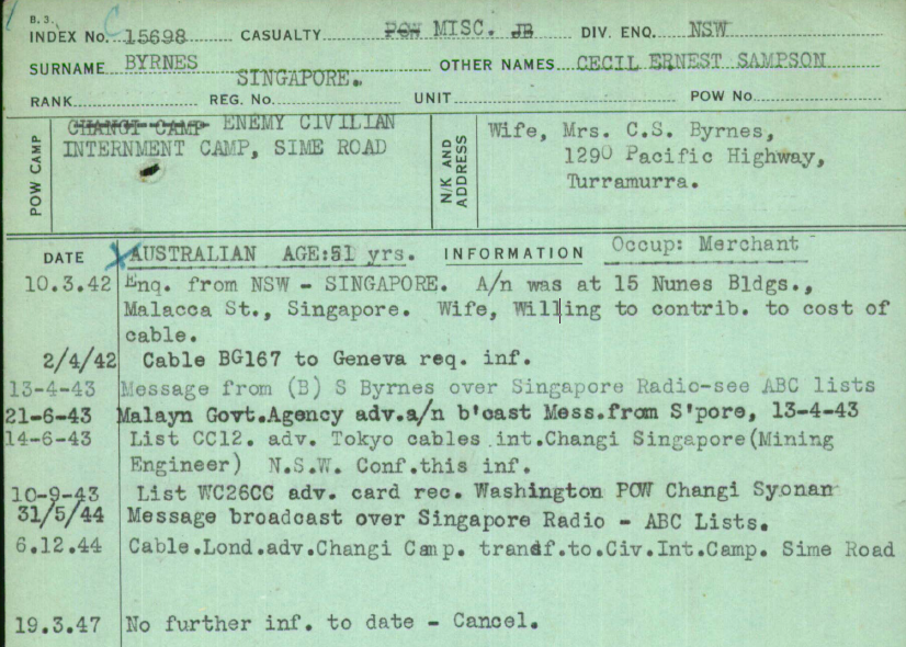Australian Red Cross POW enquiry card for Cecil Ernest Sampson Byrnes